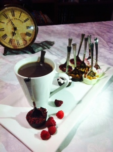 Hot Chocolate, Chocolate Spoons with Raspberry