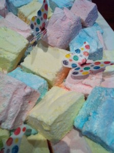 Pineapple, raspberry and blueberry marshmallow - with edible butterflies!